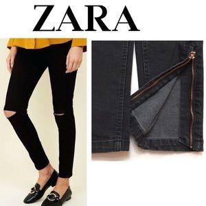 Zara Black zipper Ankle Skinny Jeans.    (P69)